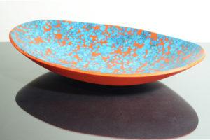 piatto ovale pois arancio e Azzurro