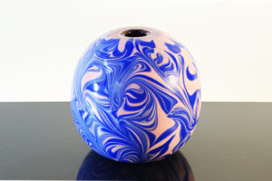 Vaso Tondo Blu E Rosa